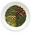 four types of japanese green teas in one dish, genmaicha, hojicha houjicha, sencha, gyokuro thumbnail