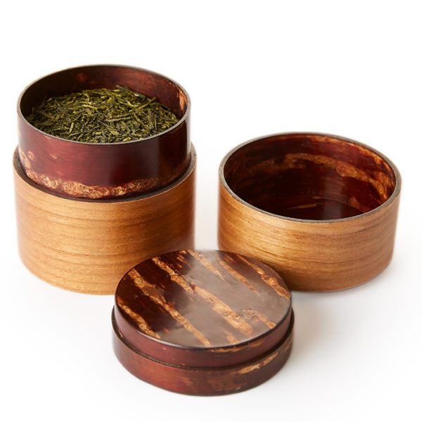 3 pieces of sakura chazutsu tea canister that is handmade from cherry blossom bark wood