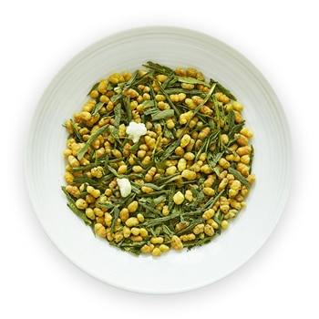 yume genmaicha with matcha brown rice green tea leaves