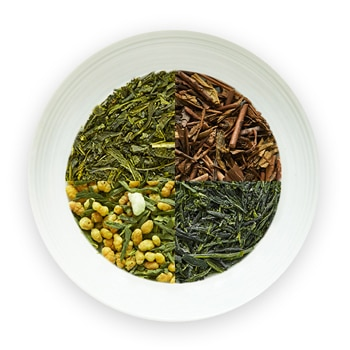 four types of premium japanese green teas in one dish, genmaicha, hojicha houjicha, sencha, gyokuro